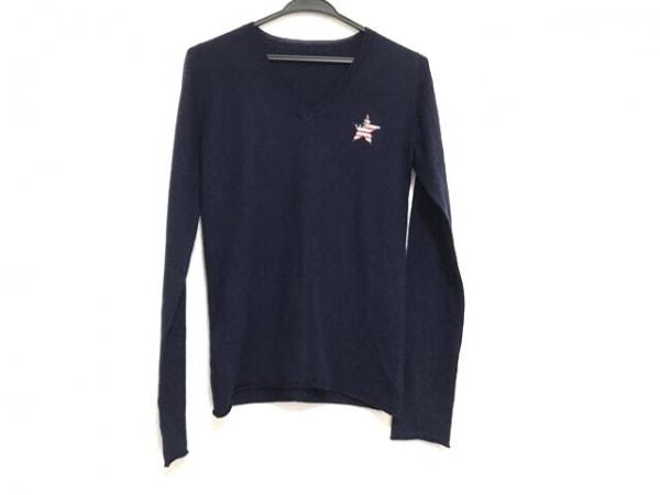ルシアンペラフィネ 長袖セーター サイズM レディース美品  ネイビー×レッド×白