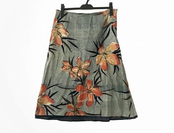 パラスパレス スカート サイズ0 XS レディース美品  グレー×オレンジ×マルチ 花柄