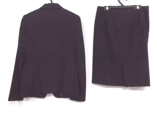 コムサデモード スカートスーツ サイズ9 M レディース 黒 ストライプ