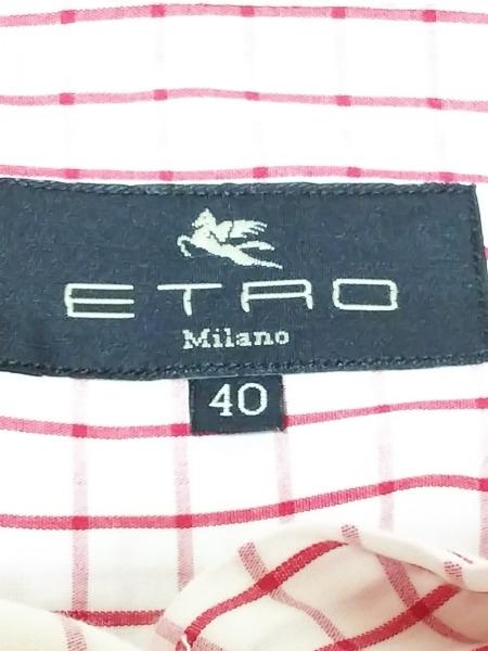 ETRO(エトロ) 長袖シャツブラウス サイズ40 M レディース 白×レッド チェック柄