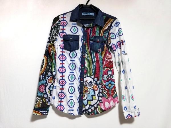 デシグアル 長袖シャツブラウス サイズXS レディース美品  白×ネイビー×マルチ 刺繍