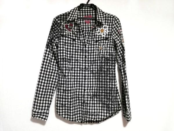 デシグアル 長袖シャツブラウス サイズXS レディース美品  白×黒×レッド チェック柄