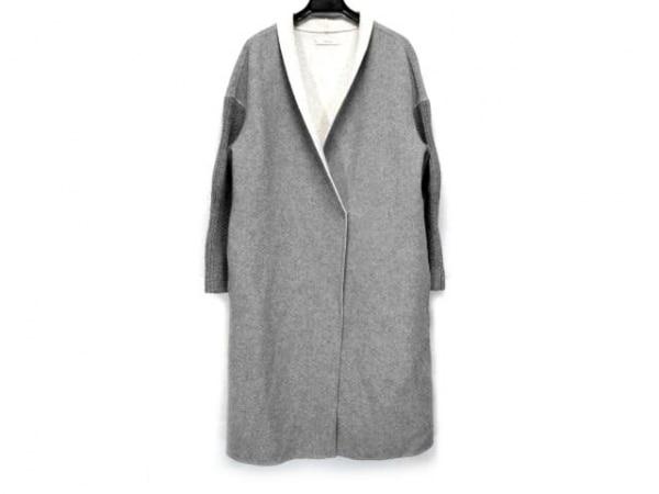 EPOCA(エポカ) コート サイズ40 M レディース グレー×アイボリー 袖ニット/冬物