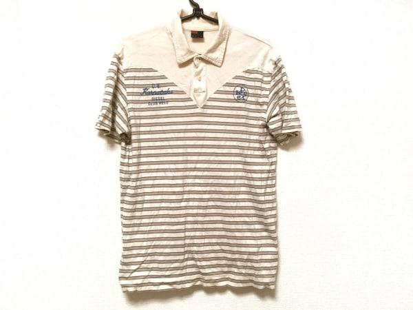 ディーゼル 半袖ポロシャツ サイズM メンズ アイボリー×ベージュ×ブルー ボーダー