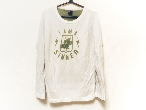 DIESEL(ディーゼル) 長袖Tシャツ サイズM メンズ 白×グリーン