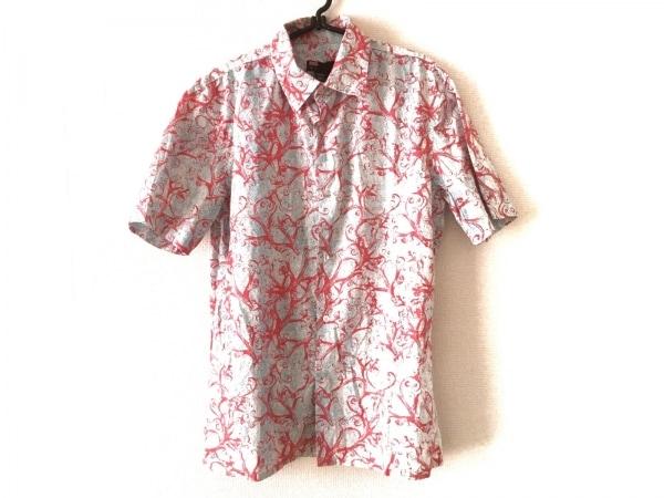 DIESEL(ディーゼル) 半袖シャツ サイズM メンズ 白×ライトブルー×レッド