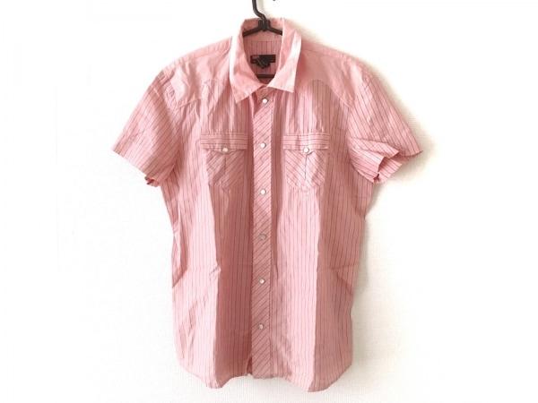 ディーゼル 半袖シャツ サイズL メンズ ピンク×ダークグレー×アイボリー ストライプ