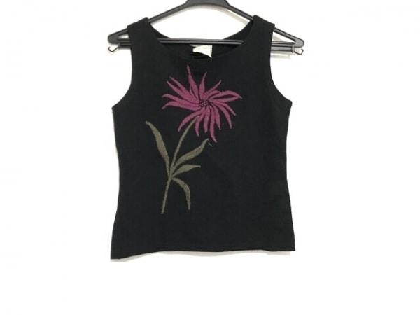 Sybilla(シビラ) ベスト サイズM レディース 黒×ボルドー×カーキ フラワー/刺繍
