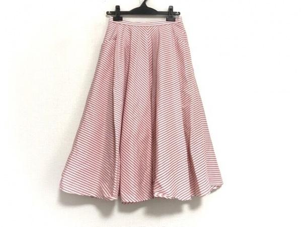 シビラ ロングスカート サイズL レディース美品  ピンク×白 斜めストライプ/プリーツ