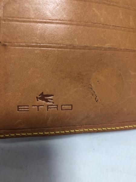 エトロ Wホック財布 ダークブラウン×ダークグリーン×マルチ PVC(塩化ビニール)