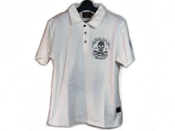 VANSON(バンソン) 半袖ポロシャツ サイズM メンズ 白×黒 スカル