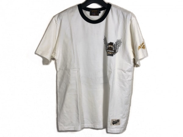 VANSON(バンソン) 半袖Tシャツ サイズL メンズ 白×黒
