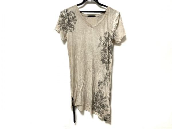 KMRii(ケムリ) 半袖Tシャツ サイズ0 XS レディース ベージュ×ダークグレー