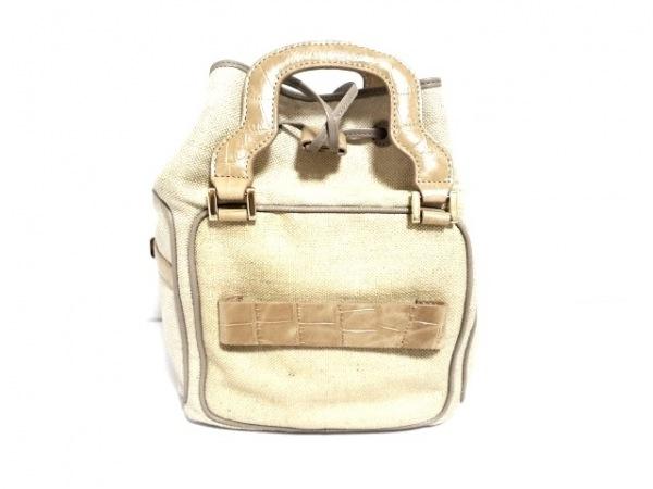 HASHIBAMI(ハシバミ) ハンドバッグ ベージュ×ライトブラウン 巾着型/一部型押し加工