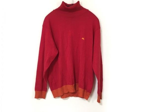 ETRO(エトロ) 長袖セーター サイズS メンズ レッド×オレンジ タートルネック