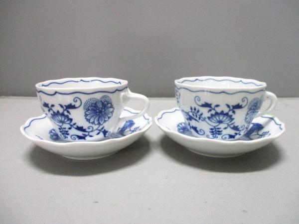 BOHEMIA(ボヘミア) カップ&ソーサー新品同様  白×ネイビー 2客セット 陶器
