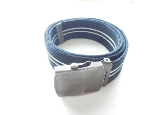 hobo(ホーボー) ベルト 黒×白×ブロンズ コットン×金属素材