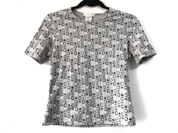 CELINE(セリーヌ) 半袖Tシャツ サイズM レディース Cマカダム柄 グレー×白×マルチ