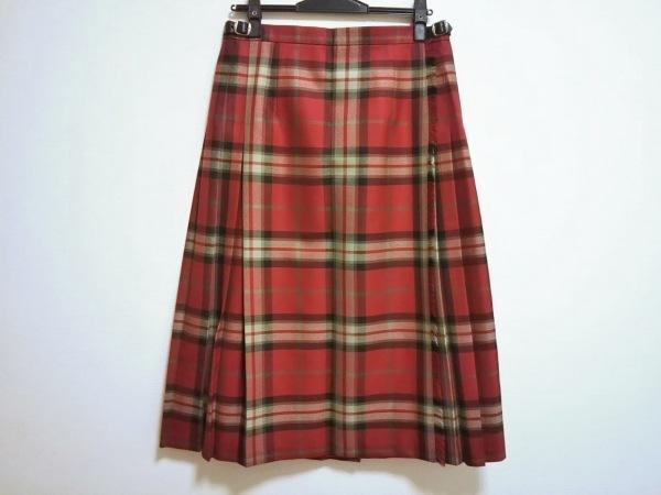 オニール 巻きスカート サイズ46 XL レディース レッド×ライトグリーン×マルチ