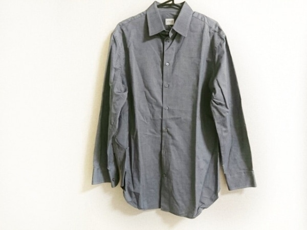 アルマーニコレッツォーニ 長袖シャツ メンズ美品  グレー×ブルー ストライプ