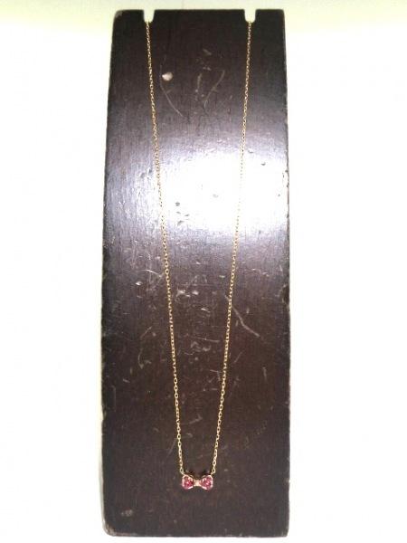ポンテヴェキオ ネックレス美品  K18PG×ルビー レッド リボン/ルビー0.09ct