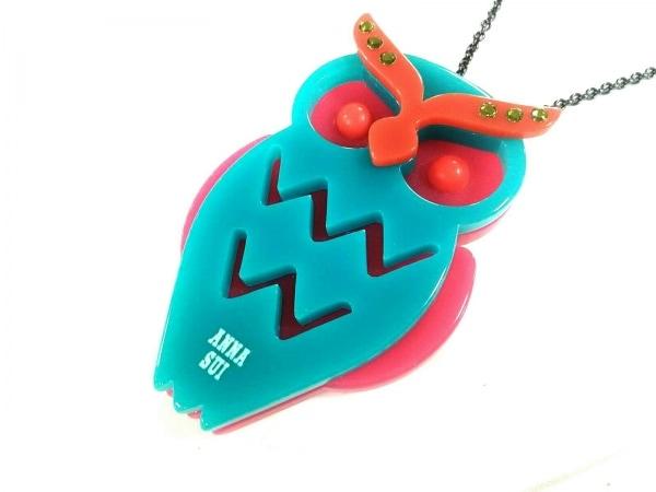 アナスイ ネックレス美品  プラスチック×金属素材 ブルーグリーン×ピンク×マルチ