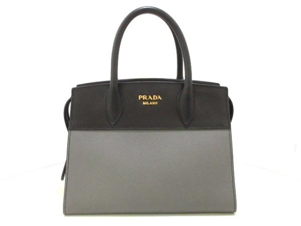 PRADA(プラダ) ハンドバッグ美品  エスプラナード 1BA045 グレー×黒