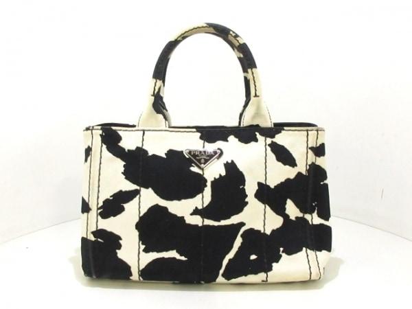 PRADA(プラダ) トートバッグ CANAPA 白×黒 キャンバス