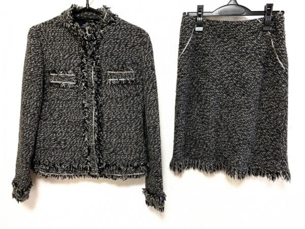 コムサデモード スカートスーツ サイズ9 M レディース美品  黒×グレー×アイボリー