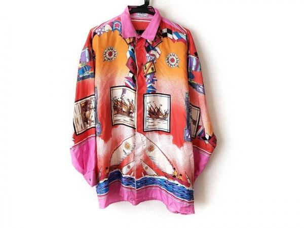ヴェルサーチスポーツ 長袖シャツ サイズ50 メンズ美品  レッド×オレンジ×マルチ