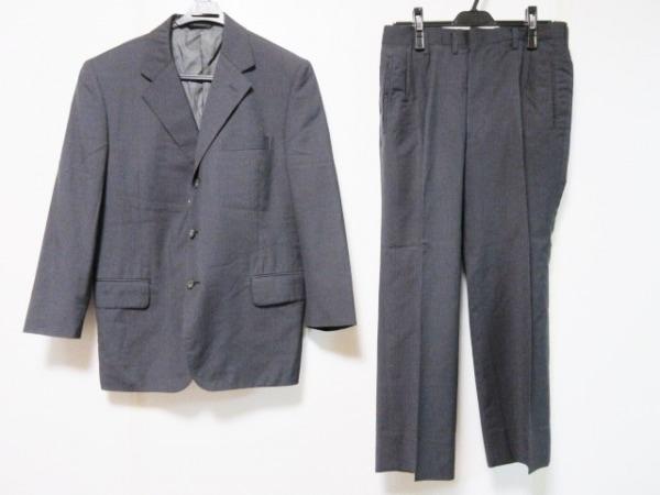 バレンチノガラバーニ シングルスーツ メンズ ダークグレー×グレー