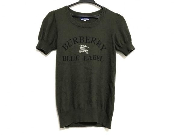 バーバリーブルーレーベル 半袖セーター サイズ38 M レディース美品  カーキ×黒