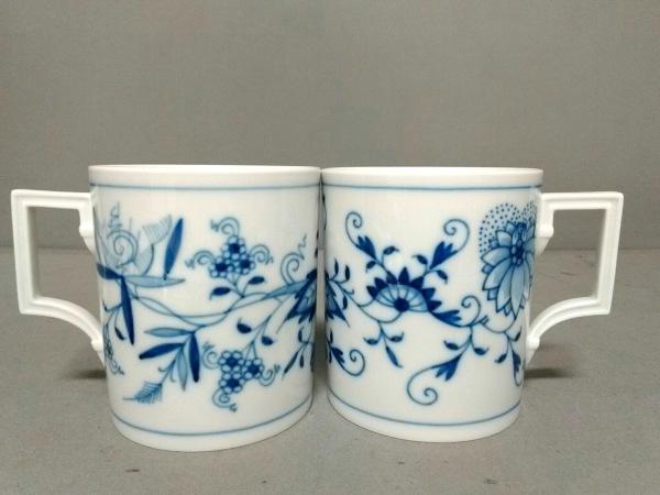 Meissen(マイセン) マグカップ新品同様  白×ネイビー マグカップ×2/花柄 陶器