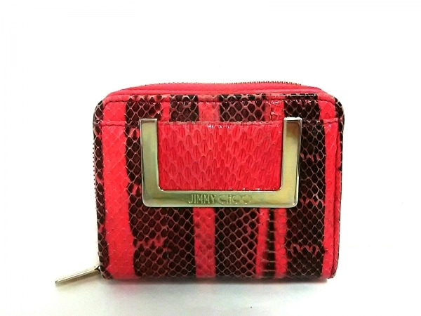 JIMMY CHOO(ジミーチュウ) 2つ折り財布美品  - ピンク×黒 パイソン