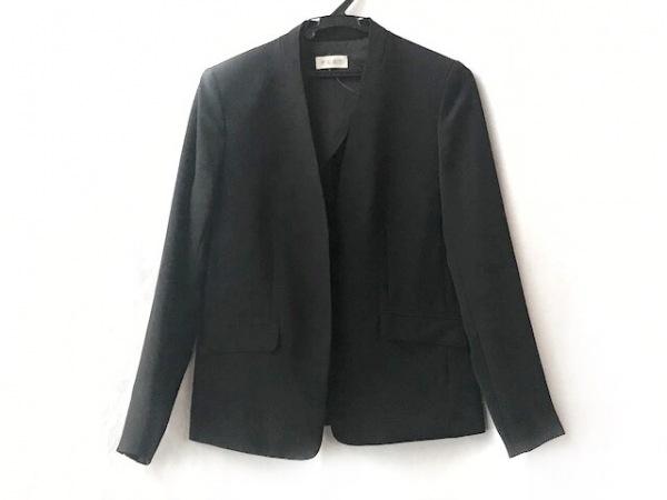 PLS+T(PLST)(プラステ) ジャケット サイズM レディース 黒 襟なし/肩パッド