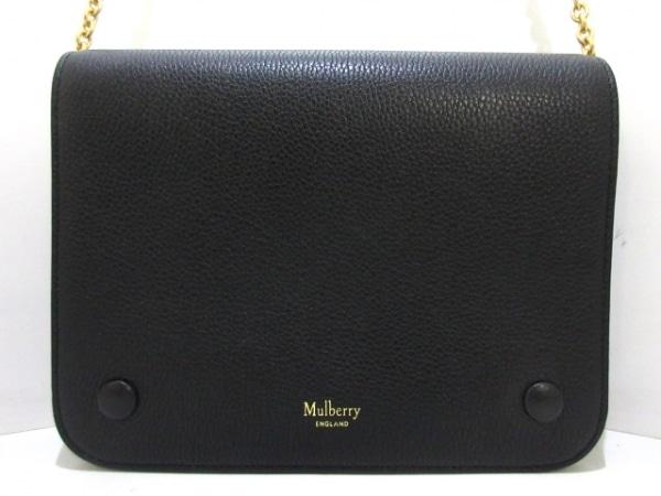マルベリー ショルダーバッグ美品  クリフトン 黒 チェーンショルダー レザー