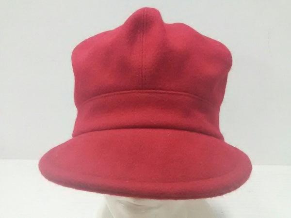 バーバリーブルーレーベル 帽子美品  レッド ウール×ナイロン×アンゴラ