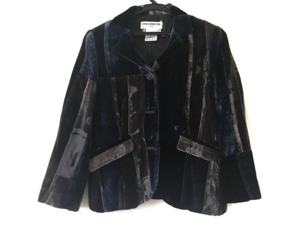 シャルルアナスタス ジャケット サイズM レディース ブルー×グレー×黒 ベロア