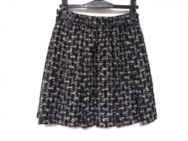 シャネル ミニスカート サイズ34 S レディース美品  黒×白 ツイード/プリーツ