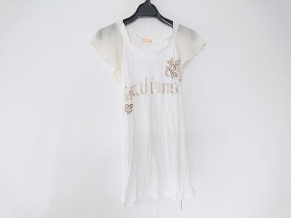 ガリアーノ 半袖Tシャツ サイズS レディース 白×アイボリー×ベージュ 刺繍/ビーズ