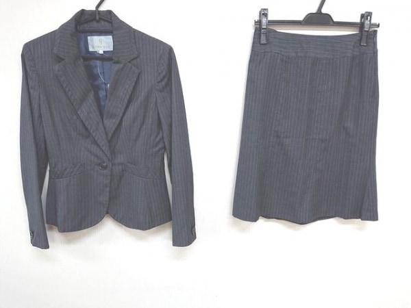 ノールシュド スカートスーツ サイズ36 S レディース ダークグレー×ライトグレー
