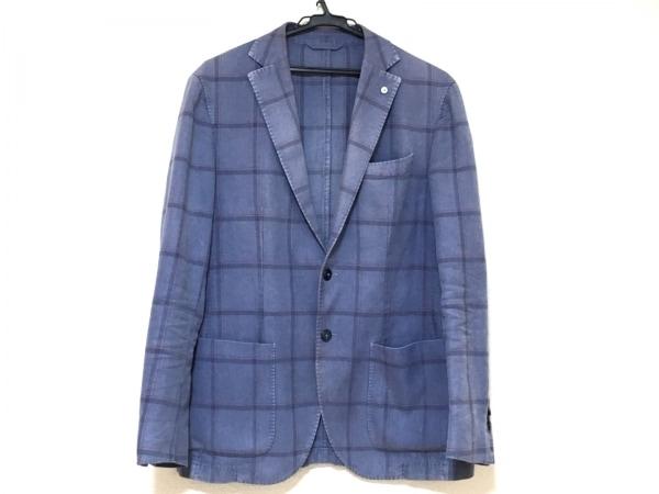 エルビーエム1911 ジャケット メンズ ブルー×ネイビー×レッド チェック柄