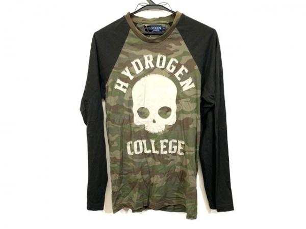 HYDROGEN(ハイドロゲン) 長袖Tシャツ サイズS メンズ カーキ×ダークブラウン×マルチ