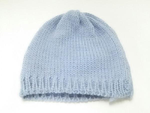 agnes b(アニエスベー) ニット帽 ライトブルー マフラー付 ウール