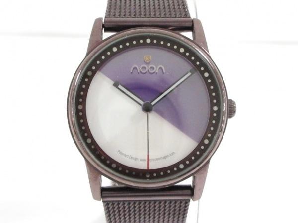 noon copenhagen(ヌーンコペンハーゲン) 腕時計美品  - - レディース パープル×白