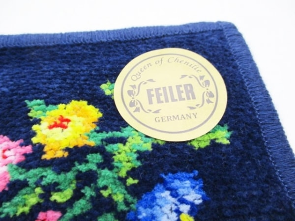 FEILER(フェイラー) ハンカチ新品同様  ネイビー×マルチ 花柄 5