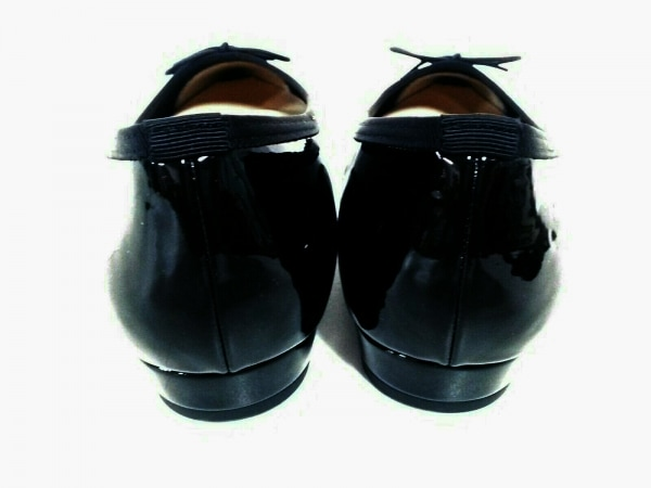 ボアソン ショコラ フラットシューズ 24 レディース美品  黒 リボン エナメル(合皮)