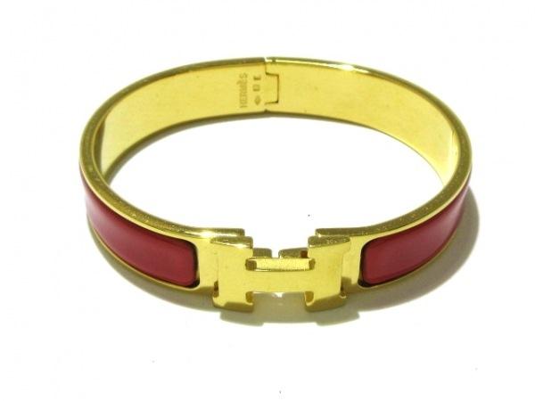 HERMES(エルメス) バングル美品  クリッククラック 金属素材 ゴールド×レッド