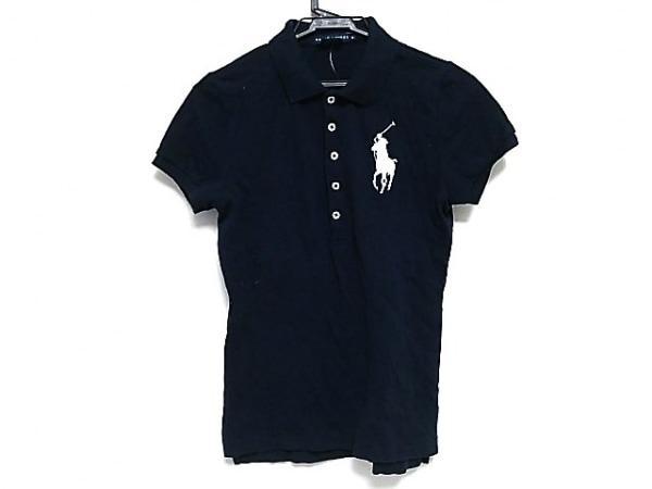 RalphLauren(ラルフローレン) 半袖ポロシャツ レディース美品  ダークネイビー×白