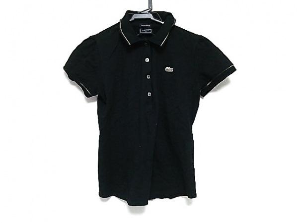 Lacoste(ラコステ) 半袖ポロシャツ レディース美品  黒×ゴールド×白 ラメ